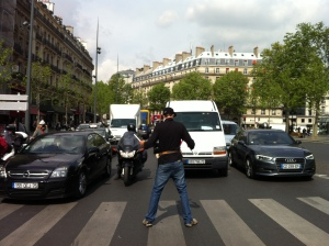 This guy interpreted his liberty and equality as the right to juggle in front of traffic, which he did for hours.