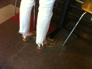 I quickly scurried away after taking this picture and accidentally bumped into the shoe-wearer herself.