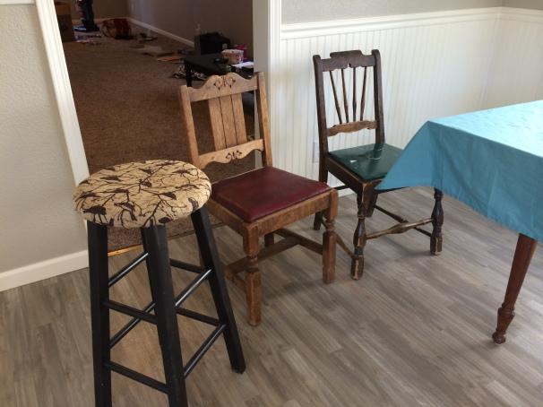 Hum-de-dum, just three chairs from garage sales.