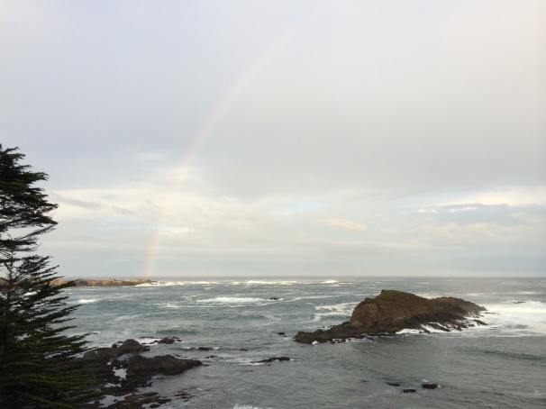 A rainbow over the ocean, which made last Thursday's drive to work one of the most beautiful commutes I've ever had.