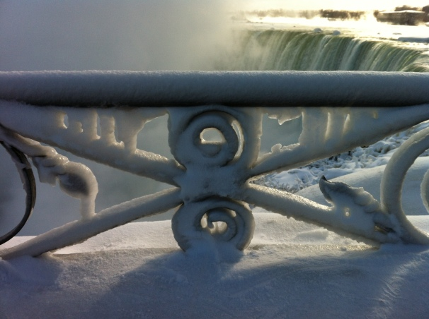 Niagara Falls was a frozen marvel on the way back from Toronto.