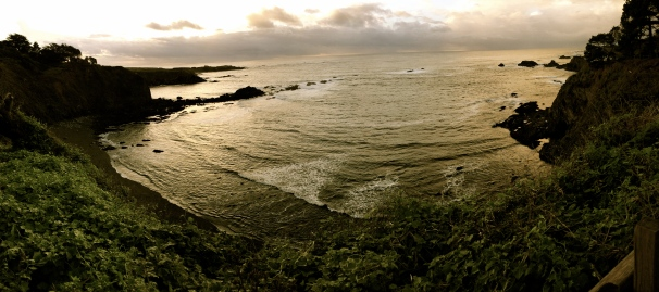The antiqued Northern California coastline, in late 2014, as the sun descends.