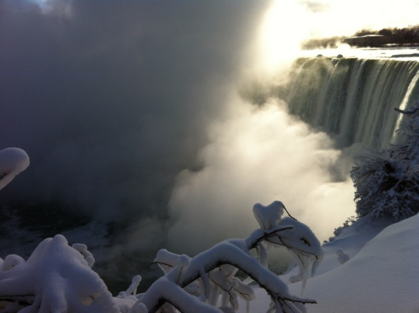 Imagine, if you will, the roaring sound of the Falls juxtaposed against the insulating silence of heavy snow.