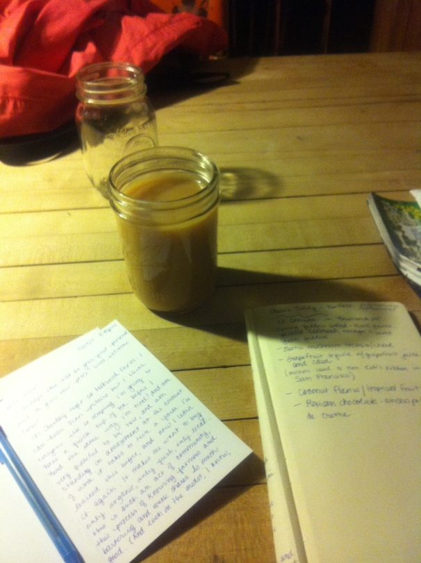 I write in Maine, with tea in a jar, made creamy by farm-fresh milk.